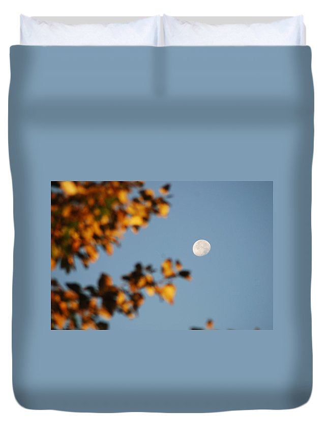 Moon Duvet Cover featuring the photograph Moonset Morning by Michael Merry