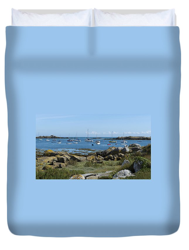 Brittany Duvet Cover featuring the photograph Moorings Iles Chausey by Gary Eason