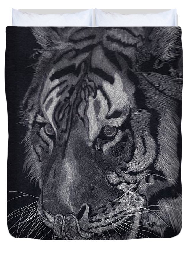 Tiger Duvet Cover featuring the drawing Moquito El Tigre by Yenni Harrison