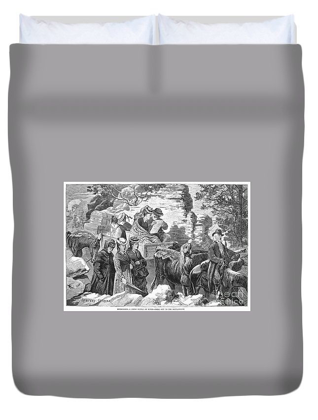 1875 Duvet Cover featuring the photograph Mormon Wives, 1875 by Granger