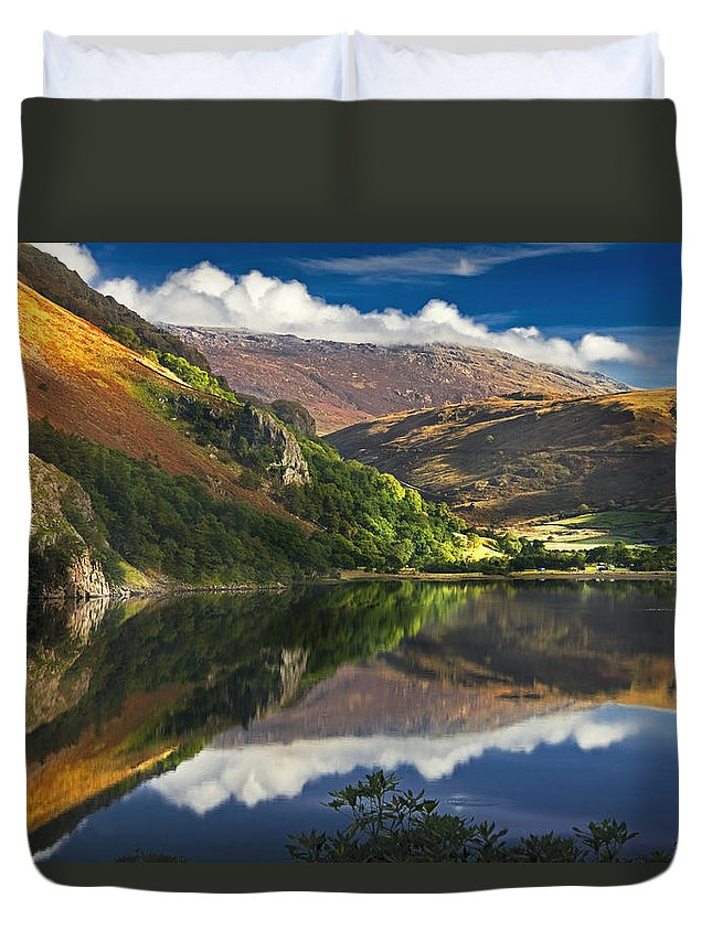 Gallt-y-wenallt Duvet Cover featuring the photograph morning by Llyn Gwynant by Dorit Fuhg
