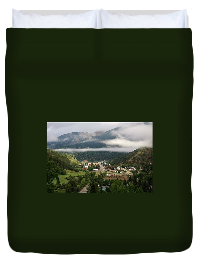 Red River Duvet Cover featuring the photograph Morning Clouds Over Red River by Ron Weathers