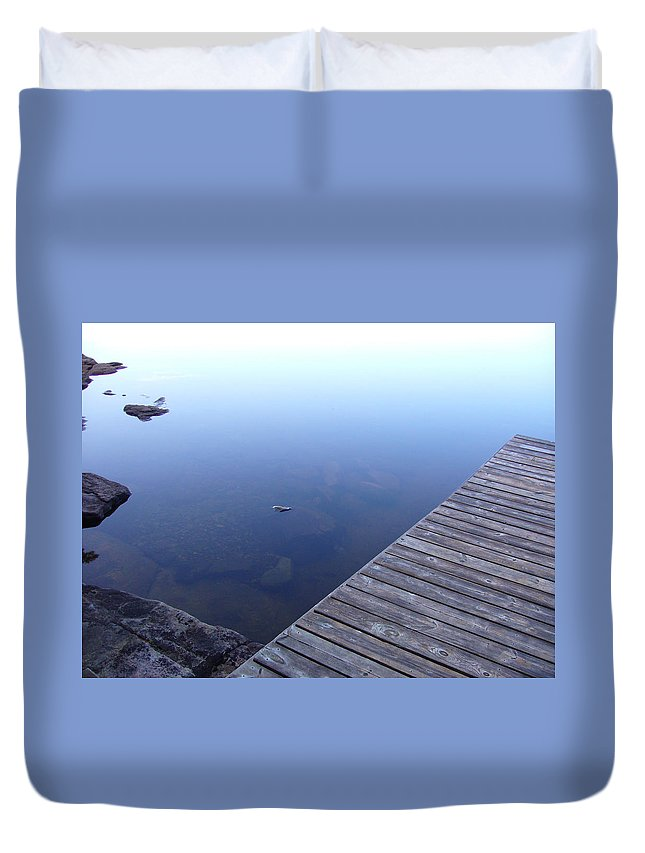 Morning Duvet Cover featuring the photograph Morning Dock by Shirley Radebach