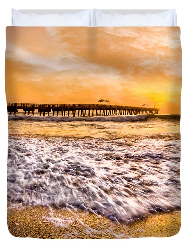 Blowing Duvet Cover featuring the photograph Morning Gold Rush by Debra and Dave Vanderlaan