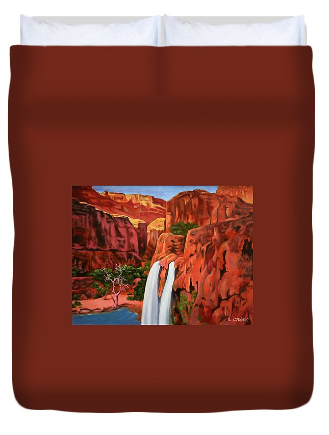 Grand Canyon Duvet Cover featuring the painting Morning In The Canyon by Daniel Carvalho