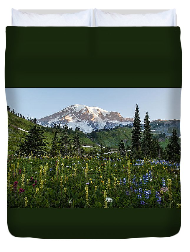 Rainier Duvet Cover featuring the photograph Morning Meadow by Mike Reid