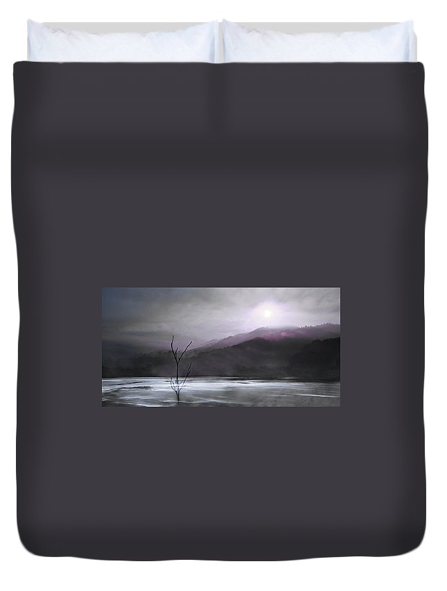 Landscape Duvet Cover featuring the photograph Morning Mist by Gray Artus