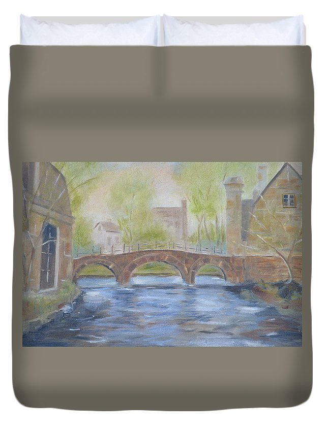 River Duvet Cover featuring the painting Morning On The Meuse by Patricia Caldwell