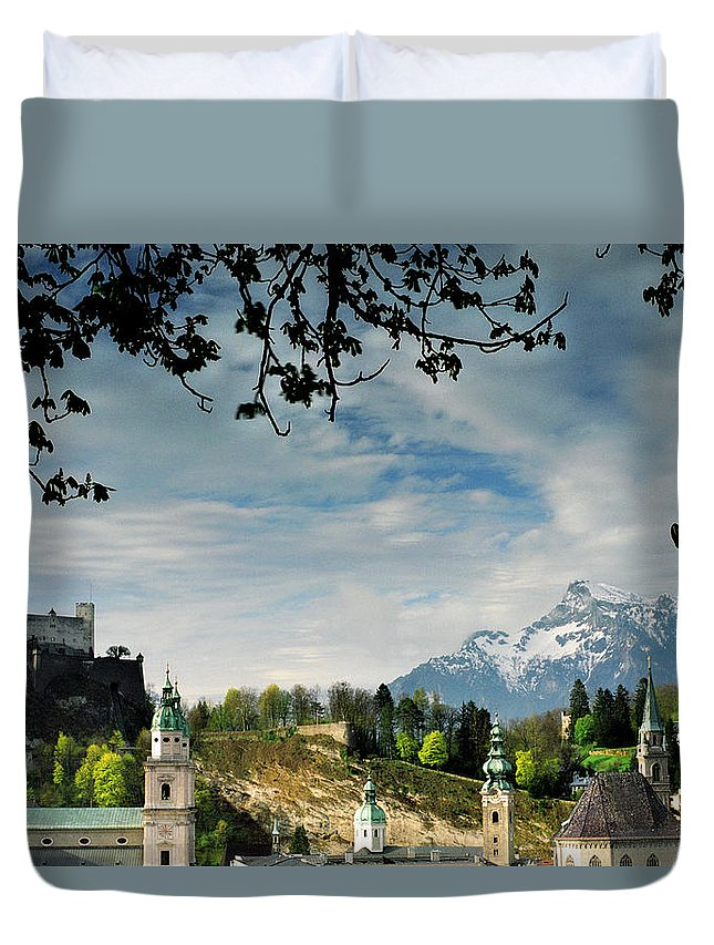 Salzburg Duvet Cover featuring the photograph Morning View Of Salzburg From Kapuzinerberg by Greg Matchick