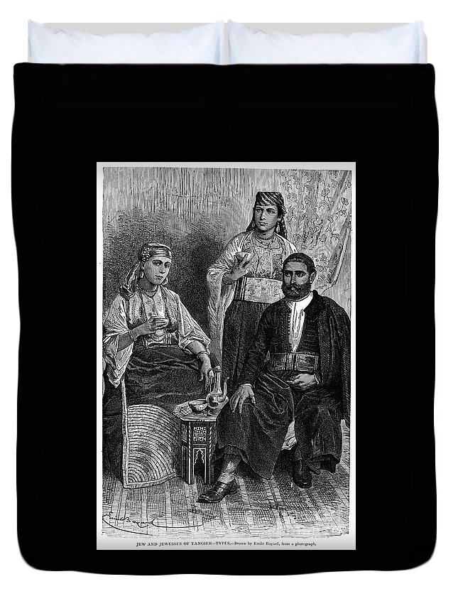 1892 Duvet Cover featuring the photograph Moroccan Jews, C1892 by Granger
