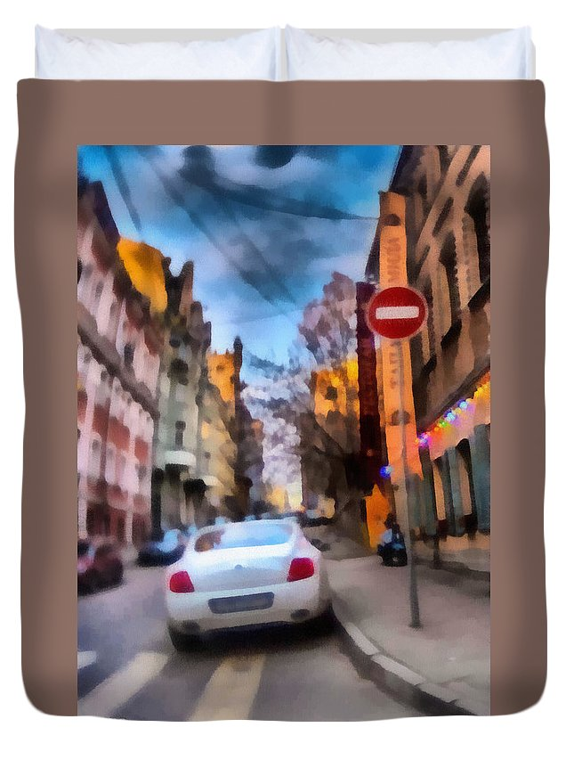 Art Duvet Cover featuring the photograph Moscow's Streets by Michael Goyberg