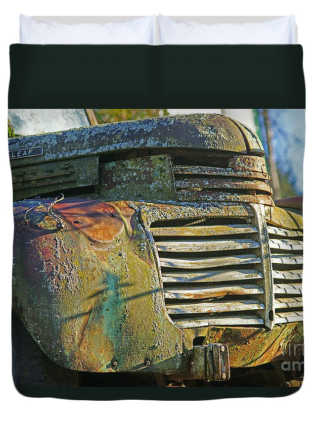 Cars Duvet Cover featuring the photograph Moss Covered Grill by Randy Harris
