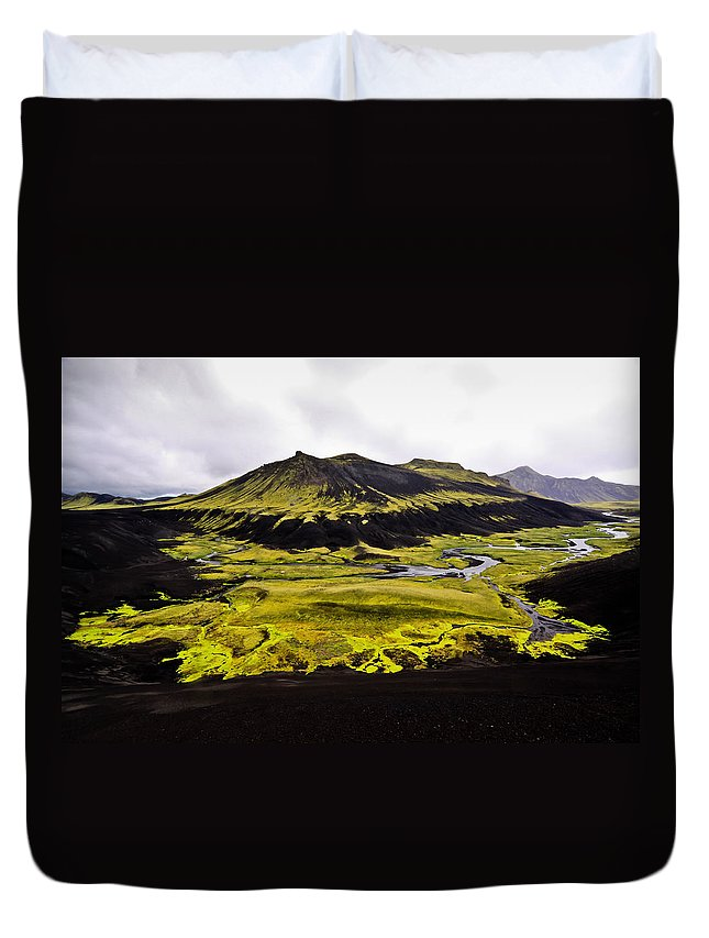 Moss Duvet Cover featuring the photograph Moss In Iceland by Tom and Pat Cory