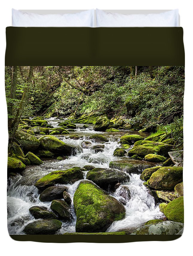 2012 Duvet Cover featuring the photograph Mossy Creek by Ronald Lutz