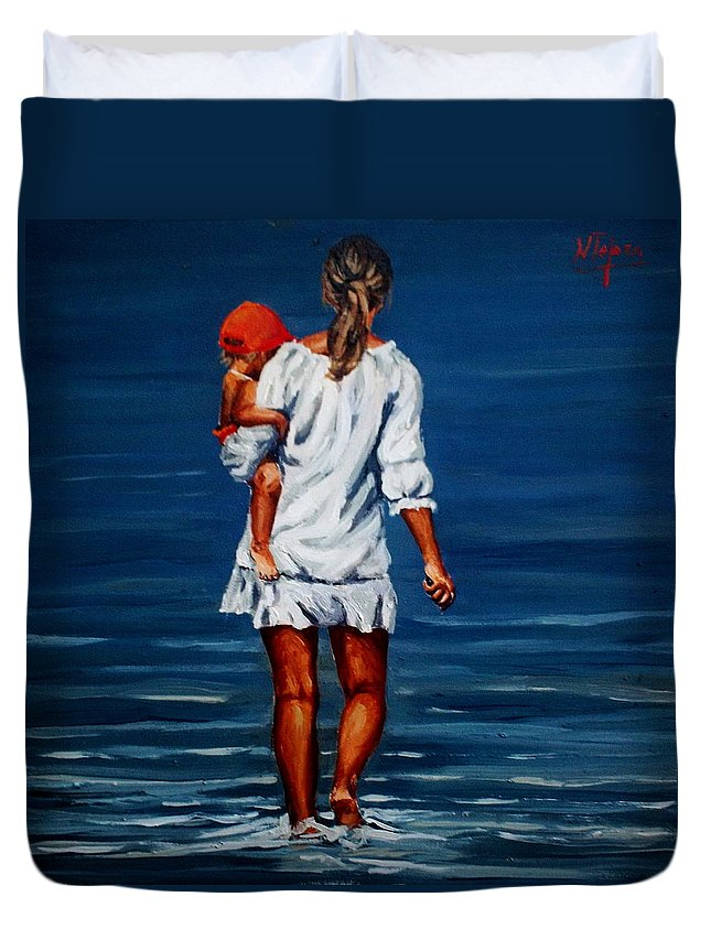 Mother Duvet Cover featuring the painting Mother And Baby by Natalia Tejera