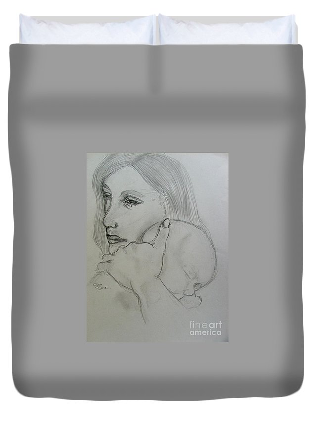 Mother And Child Duvet Cover featuring the drawing Mother And Child by Caroline Street