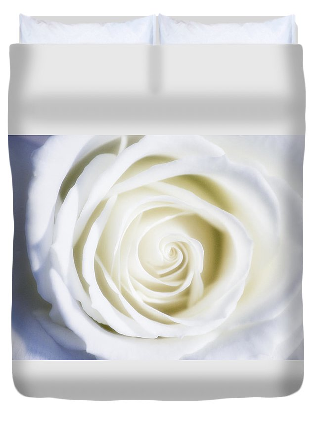 Macro Duvet Cover featuring the photograph Mother's White Rose by Linda Dunn