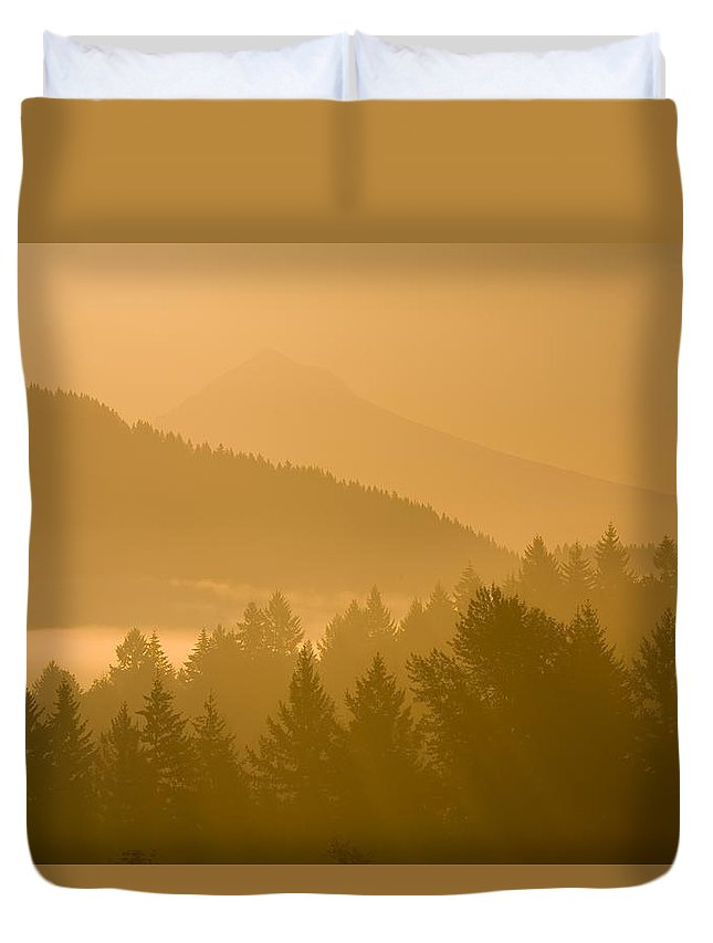 American Duvet Cover featuring the photograph Mount Hood, Oregon, Usa Silhouetted by Craig Tuttle