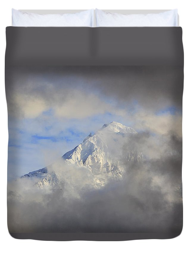 Mountain Duvet Cover featuring the photograph Mount Hood Through Storm Clouds Oregon by Craig Tuttle