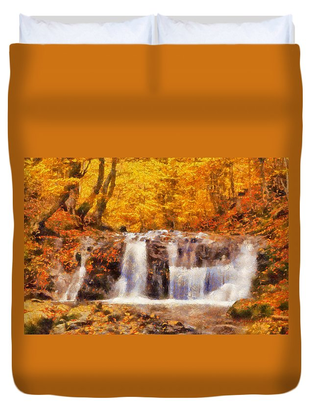 Waterfall Duvet Cover featuring the painting Mountain Creek Falls by Lynne Jenkins