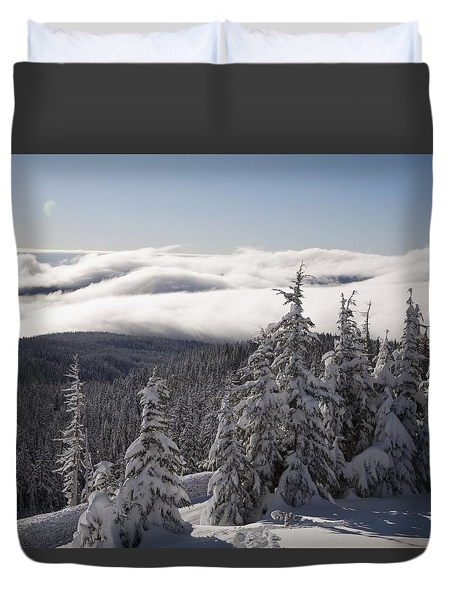 Nature Duvet Cover featuring the photograph Mountain During Winter by Craig Tuttle