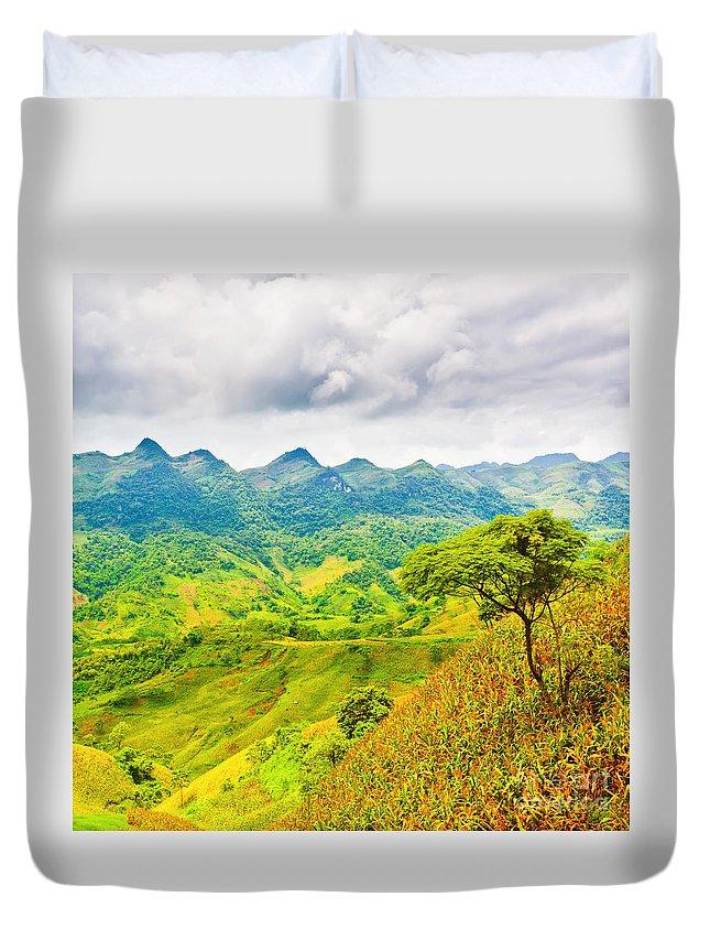 Landscape Duvet Cover featuring the photograph Mountain Landscape by MotHaiBaPhoto Prints