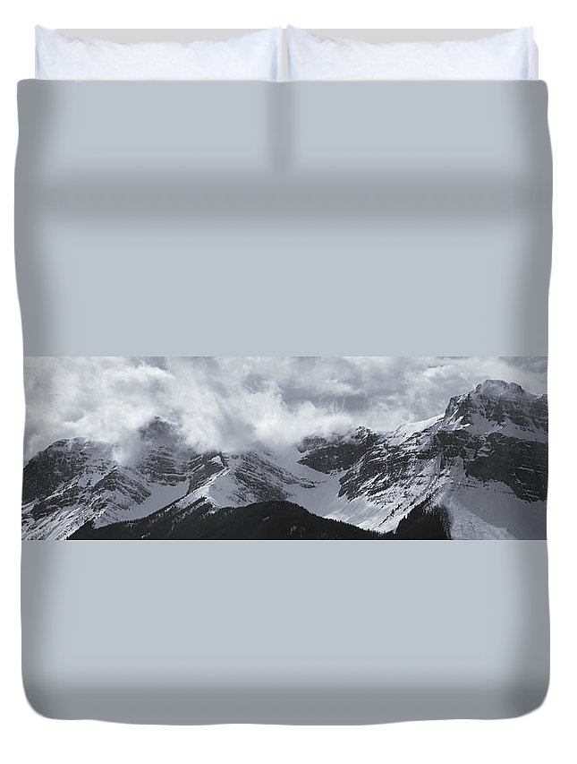 Light Duvet Cover featuring the photograph Mountain Panoramic In Winter, Spray by Darwin Wiggett