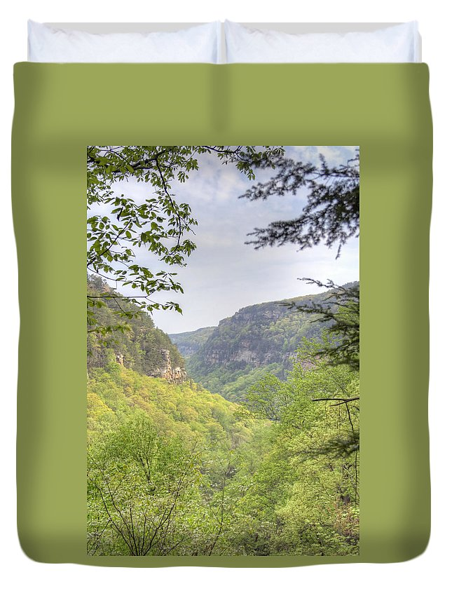 Cloudland Canyon Duvet Cover featuring the photograph Mountains by David Troxel