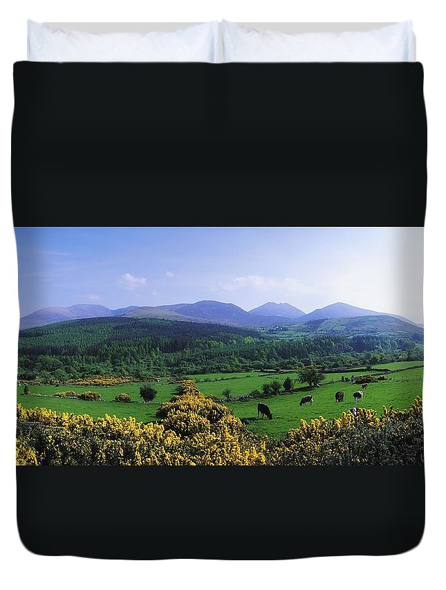 Blue Sky Duvet Cover featuring the photograph Mourne Mountains, Co Down, Ireland by The Irish Image Collection