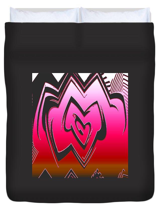 Moveonart! Global Gathering. Branch -- Digital Abstract Art By Artist Jacob Kane Kanduch -- Omnetra Duvet Cover featuring the digital art Moveonart Abstractheart by Jacob Kanduch