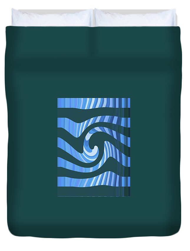 Moveonart! Global Gathering. -- Digital Abstract Art By Jacob Kane -- Omnetra Duvet Cover featuring the digital art Moveonart Coolbluewave by Jacob Kanduch