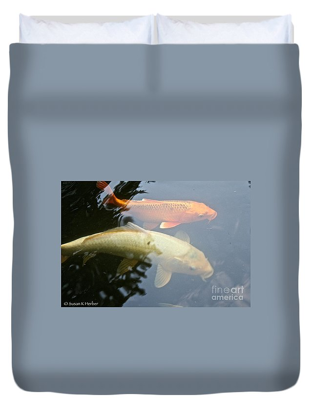 Outdoors Duvet Cover featuring the photograph Mr And Mrs Koi by Susan Herber