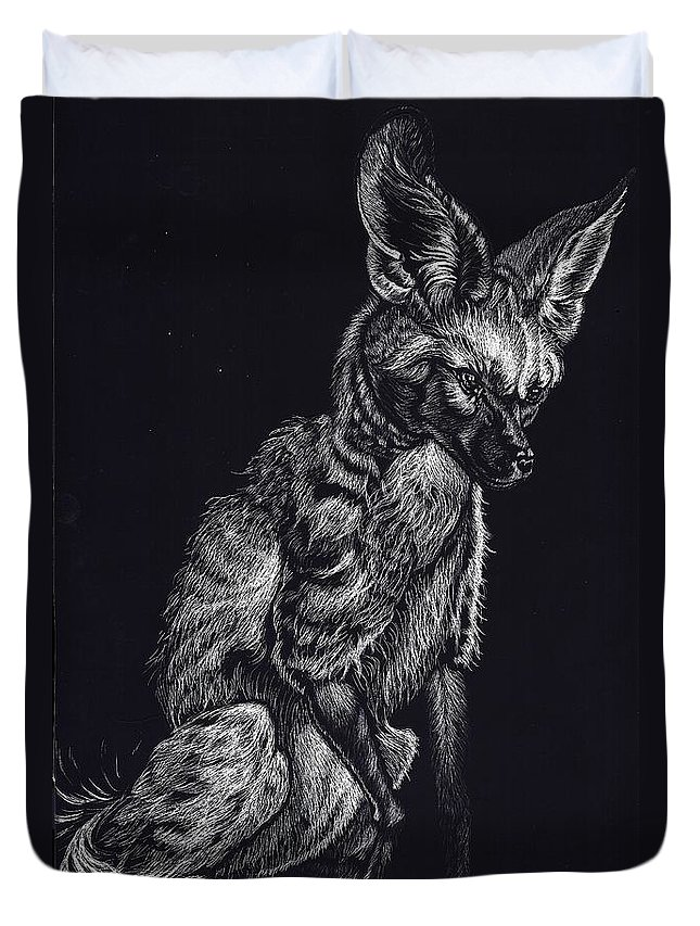 Bat Eared Fox Duvet Cover featuring the drawing Mr. Big Ears by Yenni Harrison
