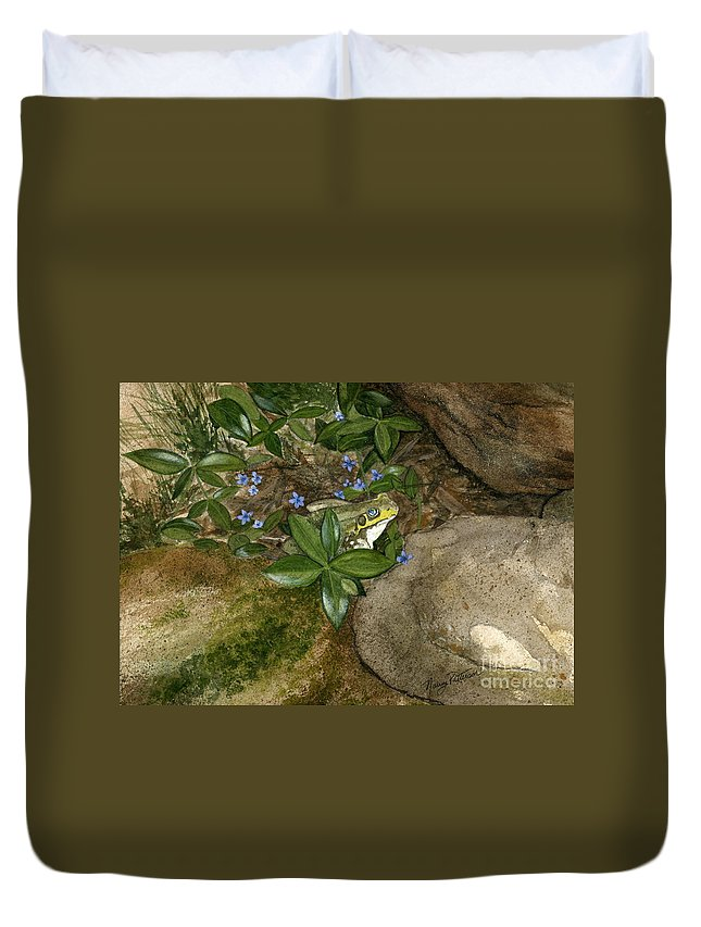 Frog Duvet Cover featuring the painting Mr. Frog by Nancy Patterson