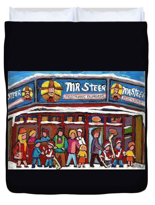 Mr.steer Restaurant Montreal Restaurants Duvet Cover featuring the painting Mr Steer Restaurant Montreal by Carole Spandau