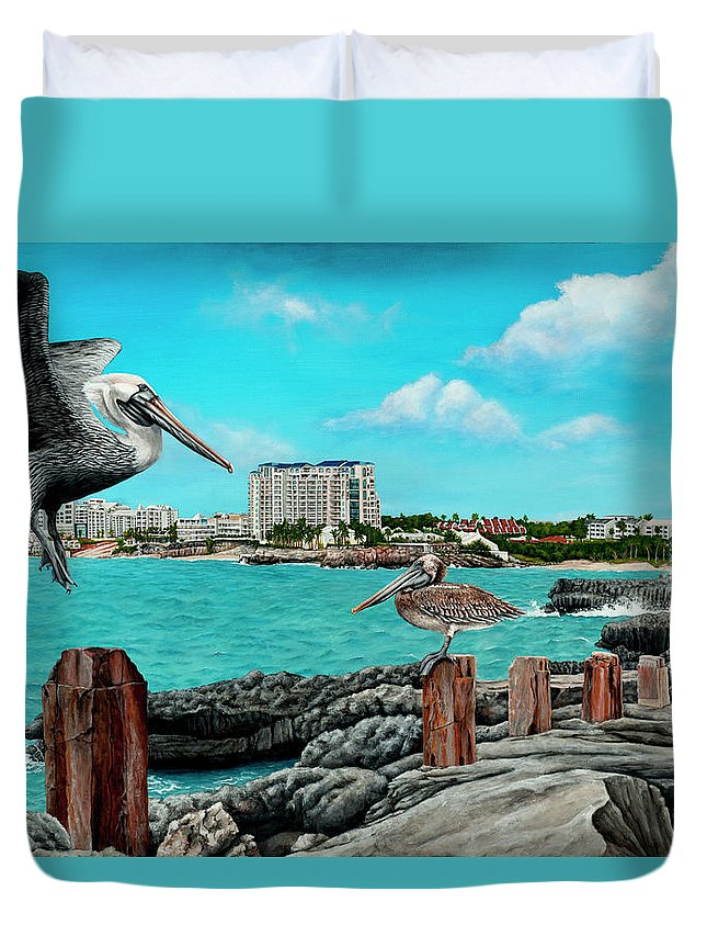 Mullet Bay Duvet Cover featuring the painting Mullet Bay by Cindy D Chinn