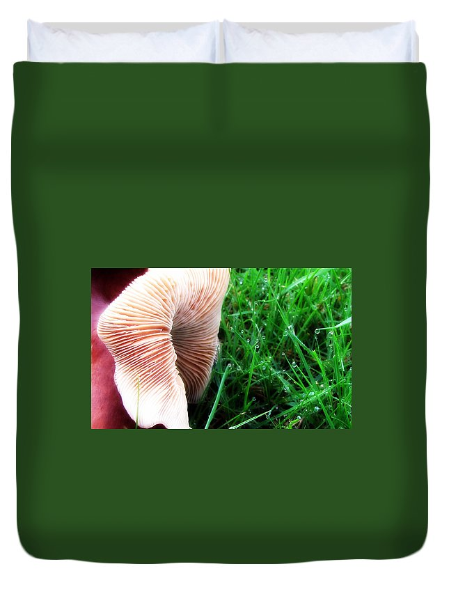 Mushroom Duvet Cover featuring the photograph Mushroom And Dewdrops by Katie Wing Vigil