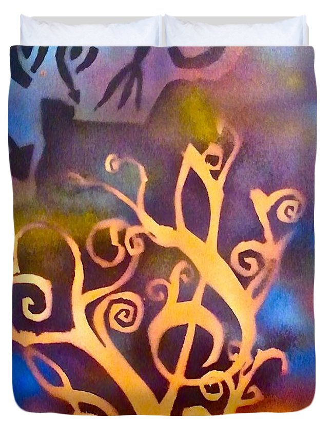 Tree Duvet Cover featuring the painting Musical Roots by Tony B Conscious