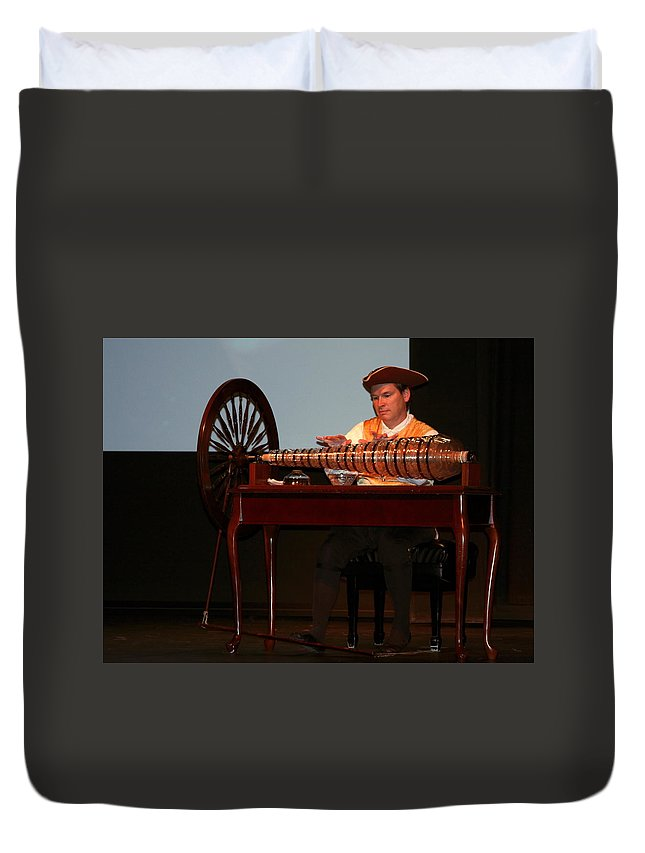 Musician Playing Glass Armonica Duvet Cover featuring the photograph Musician And Glass Armonica by Sally Weigand