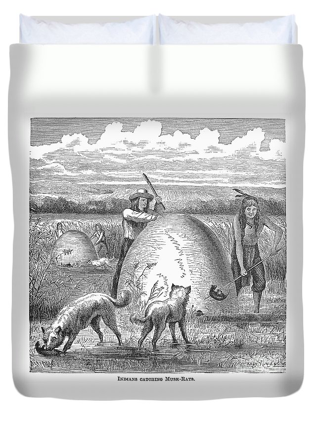 1873 Duvet Cover featuring the photograph Muskrat Hunting, 1873 by Granger