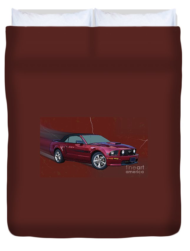 Ford Duvet Cover featuring the digital art Mustang Gt Convertible by Tommy Anderson