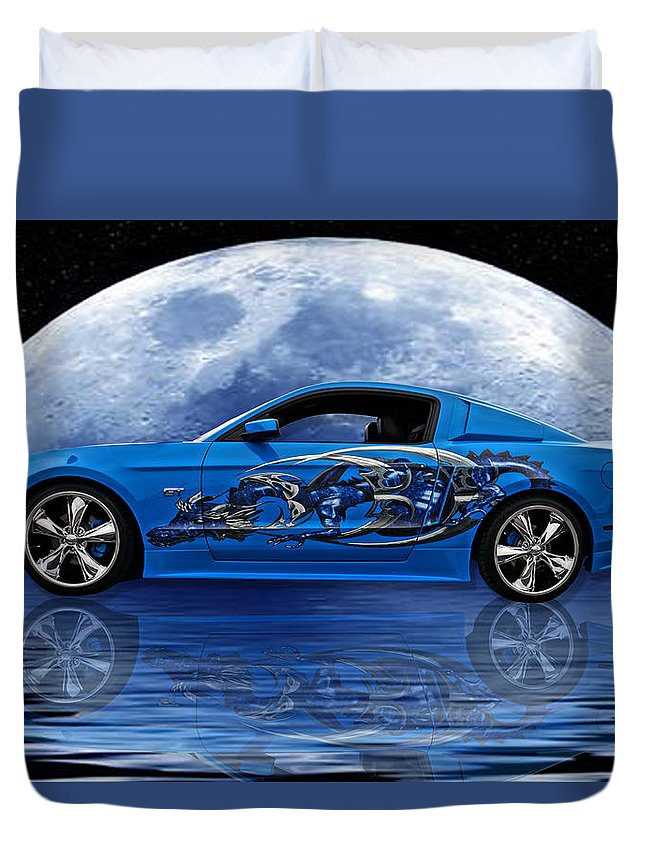 Mustang Duvet Cover featuring the photograph Mustang Reflection by Alan Hutchins