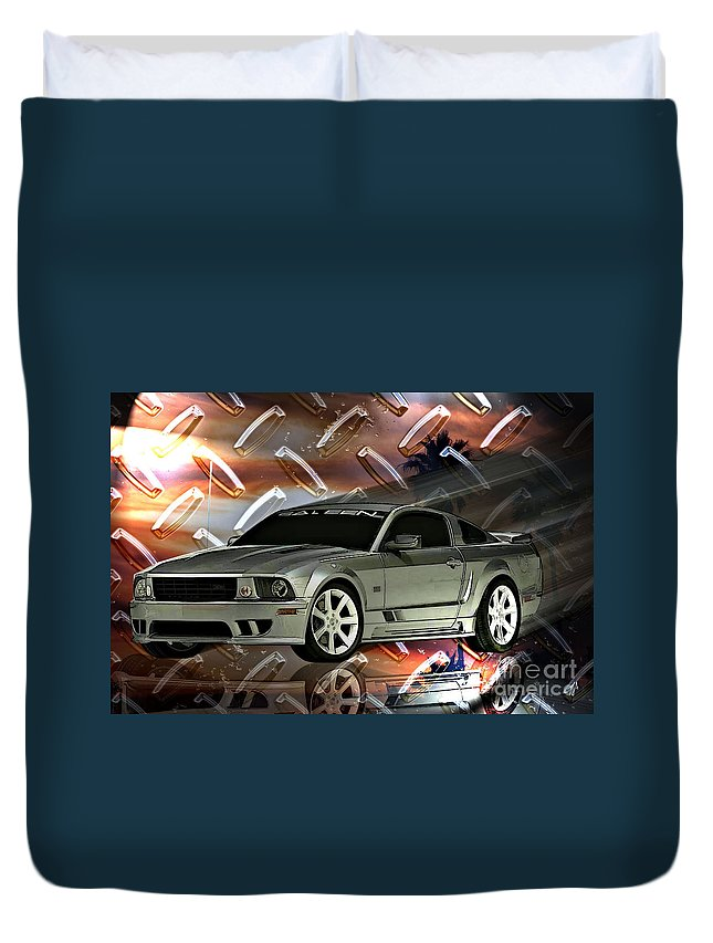 Mustang Duvet Cover featuring the digital art Mustang Saleen by Tommy Anderson