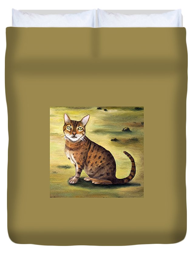 Cat Duvet Cover featuring the painting My Cats Worst Nightmare Detail by Leah Saulnier The Painting Maniac