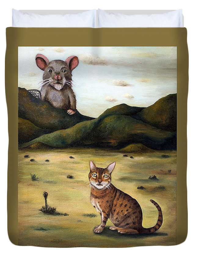 Bengal Duvet Cover featuring the painting My Cats Worst Nightmare by Leah Saulnier The Painting Maniac