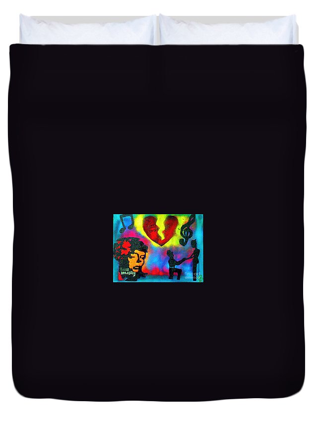 Jazz Duvet Cover featuring the painting My Funny Valentine by Tony B Conscious