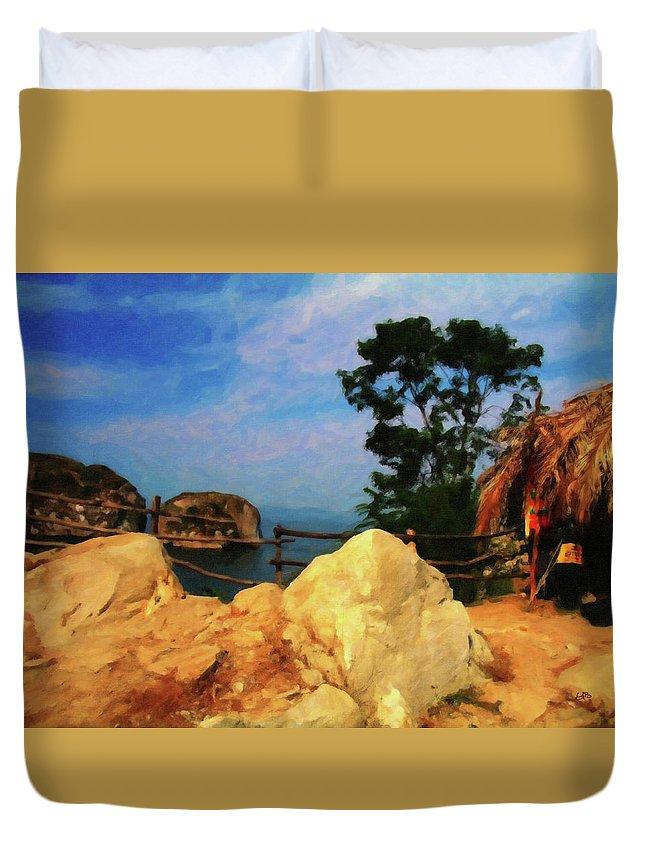 Little Grass Shack Duvet Cover featuring the digital art My Little Grass Shack - Baja Mexico by Gary Baird