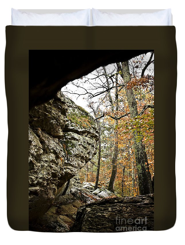 Rock House Caves Duvet Cover featuring the photograph My Rock My Shelter by Kim Henderson