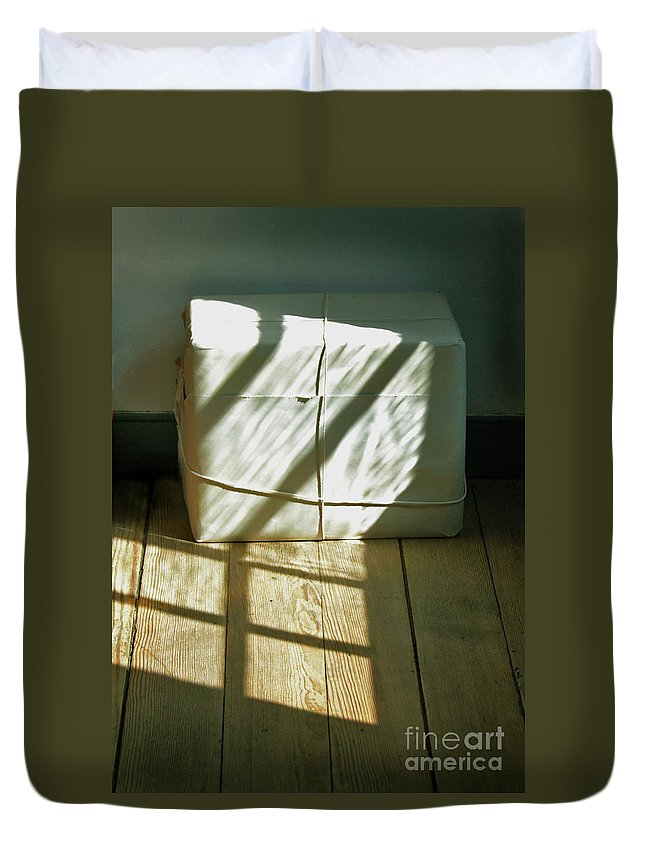 Package Duvet Cover featuring the photograph Mysterious Package by Jill Battaglia