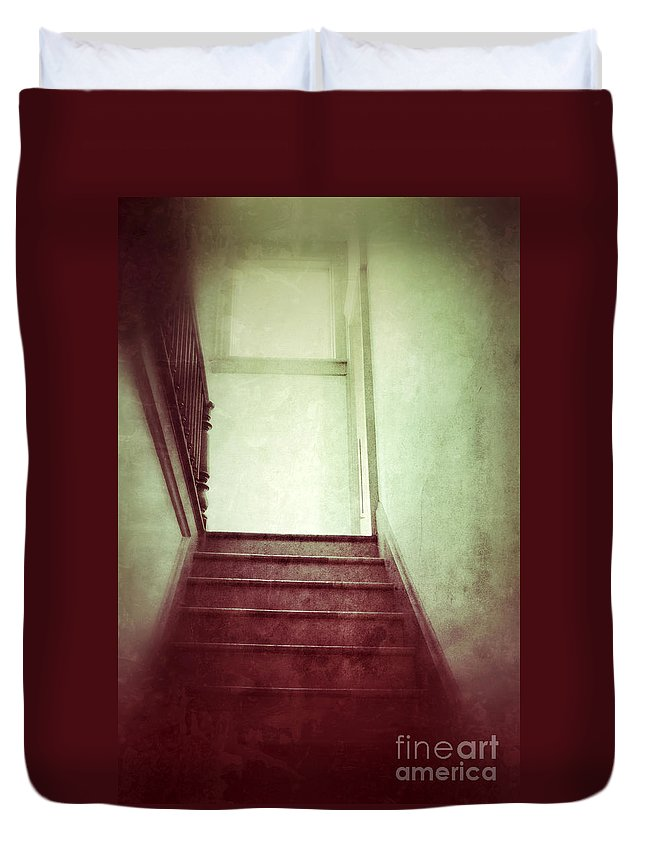 Stairs Duvet Cover featuring the photograph Mysterious Stairway by Jill Battaglia